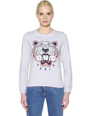 sweatshirt embroidered tiger cotton light grey sweater