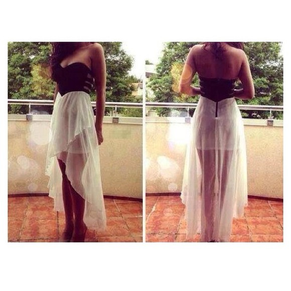 dress maxi dress white black