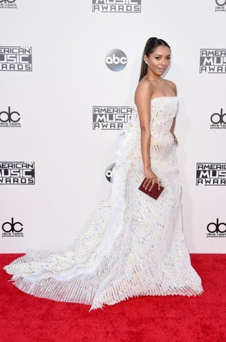 dress kat graham white dress train dress amas 2015 gown strapless bustier dress prom dress