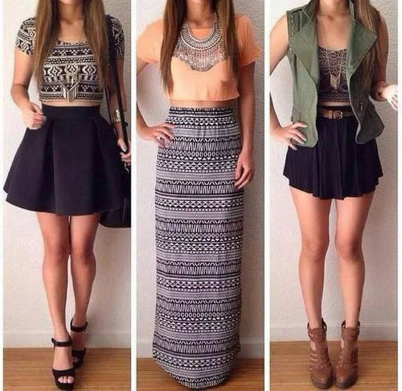 classy style t-shirt top high waisted summer outfits streetwear jewels high heels bag necklace skater skirt stripes aztec jacket high waisted skirt striped shirt platform shoes boots cardigan winter outfits high top sneakers black heels denim jacket Belt peach