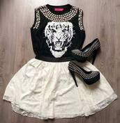 shirt,tiger shirt,studs,black,white,skirt,shoes,t-shirt,top,outfit,tiger top,blouse,pumps,tiger,studds,black and white,dress,tank top