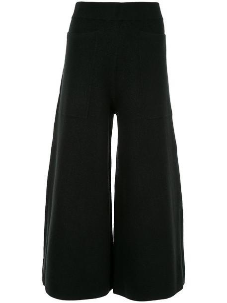 culottes women spandex black wool pants