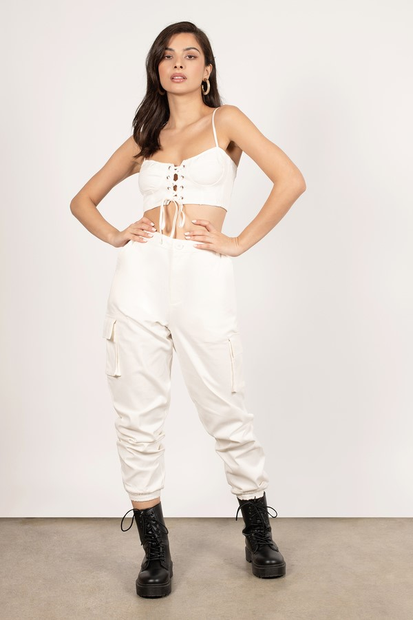 Can'T Have This White Cargo Jumpsuit Set