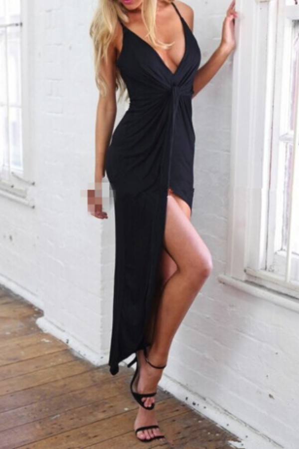 dress black maxi dress fashion style asymmetrical tan slit dress beautifulhalo