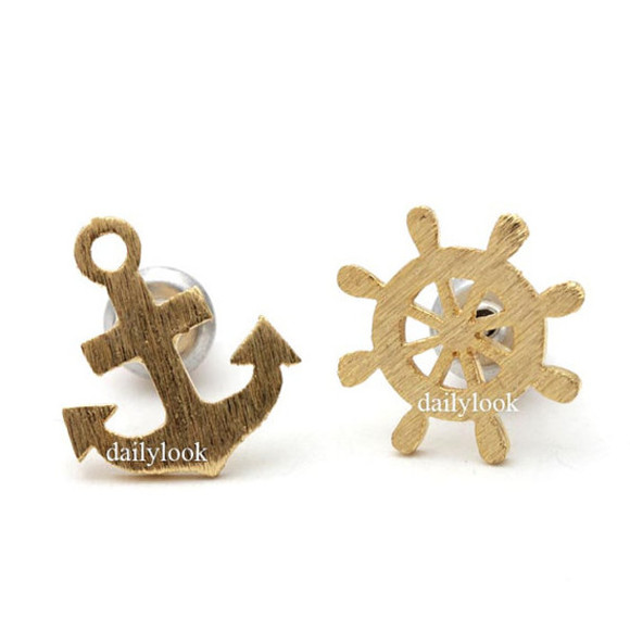jewels anchor beach jewelry anchor earrings anchor studs man studs resort celebrities