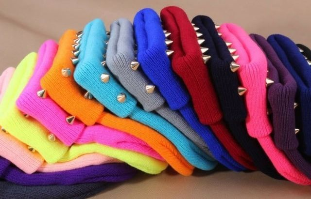 Studded Beanie Hat Cone Spikes Spiked Punk Rivet Thick Warm Knit Cap 10 Colours | eBay