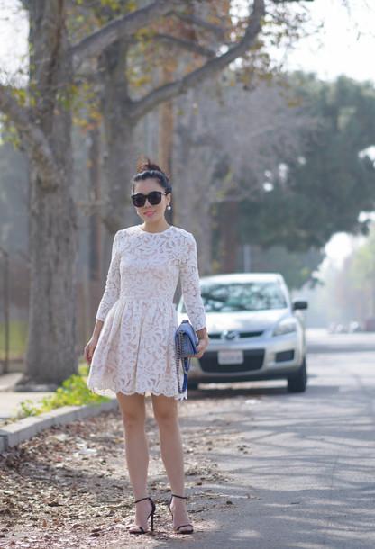 hallie daily blogger lace dress sandals dress coat shoes bag sunglasses jewels