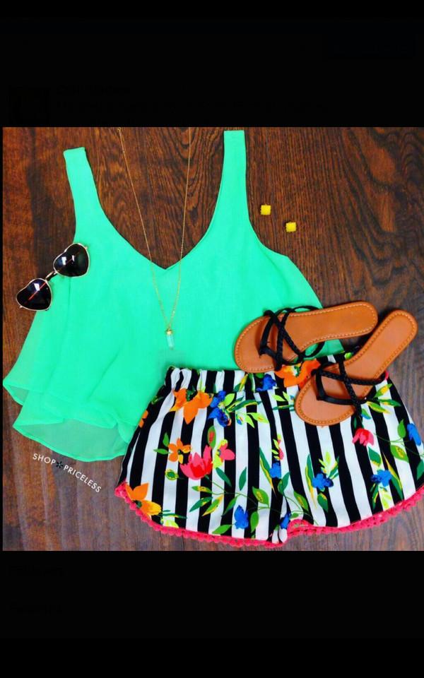 blouse mint sunglasses sandals shorts pants striped shorts flowered shorts
