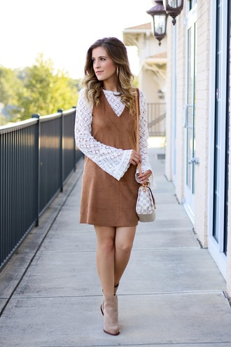thedaintydarling blogger dress blouse shoes jewels make-up ankle boots louis vuitton bag bell sleeves