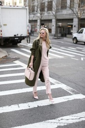 atlantic pacific,blogger,sunglasses,leather pants,winter outfits,pink jumpsuit,pink heels,pink bag,winter coat,d'orsay pumps