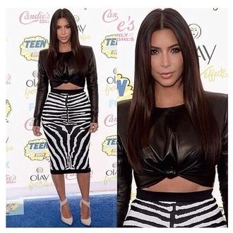 skirt black and white zebra print jacket kim kardashian white bodycon midi dress