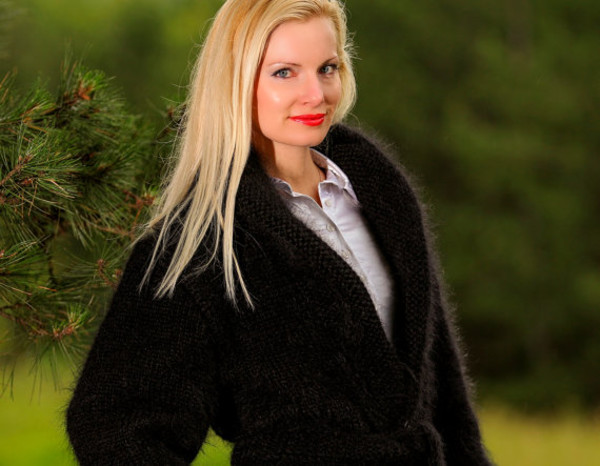 cardigan supertanya black sweater coat jacket hand made knit mohair wool angora alpaca cashmere shawl collar