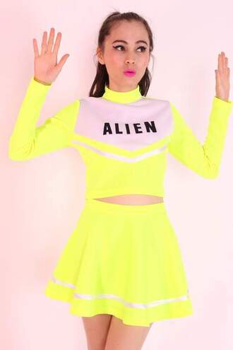 top cropped neon alien yellow skirt cheerleading
