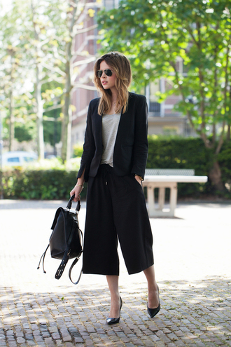 fash n chips jacket t-shirt shoes sunglasses pants black culottes culottes black pants top grey top backpack black backpack leather backpack blazer black blazer office outfits fall outfits pointed toe pumps pumps black pumps aviator sunglasses classy