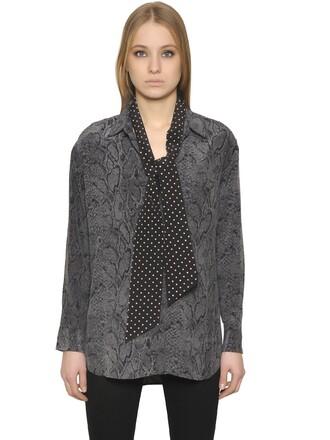shirt silk black grey top