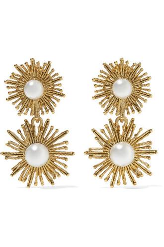 sun pearl earrings gold jewels