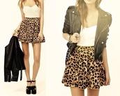 skirt,leopard print,leather jacket,blouse