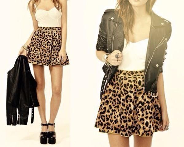 skirt leopard print leather jacket blouse