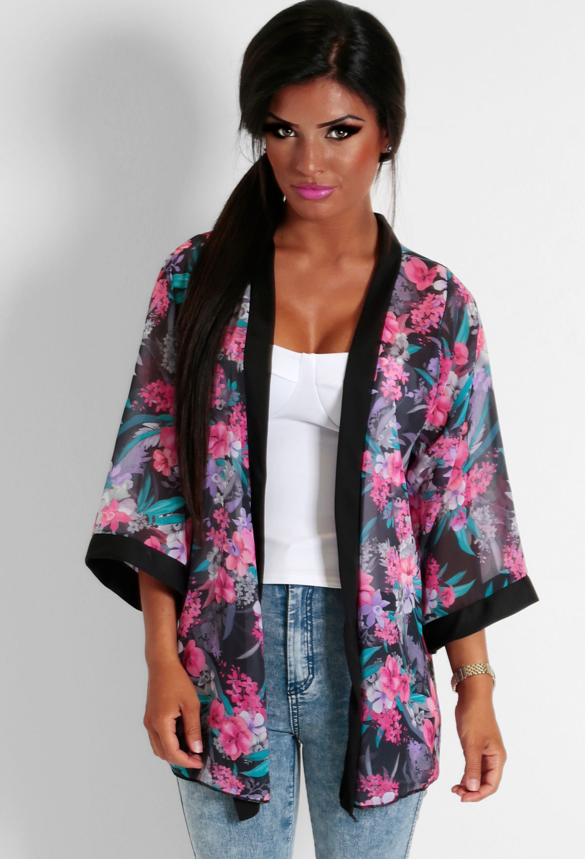 Ogrod Pink and Purple Floral Print Kimono | Pink Boutique
