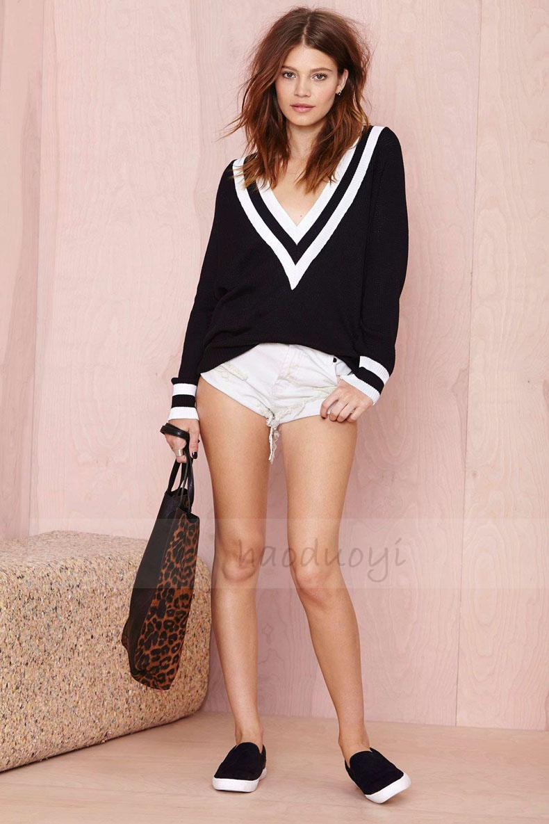Aliexpress.com   Buy New Arrived Sweaters 2014 Women Fashion Winter The  Trend Gradient Deep V Neck ... 1c38014b7