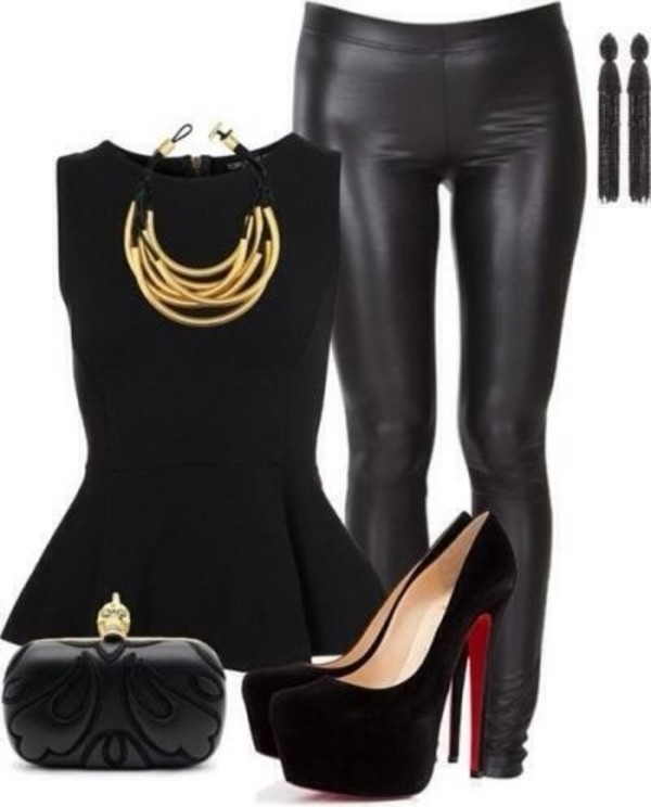 blouse shoes pants bag jewels shirt black and red outfit