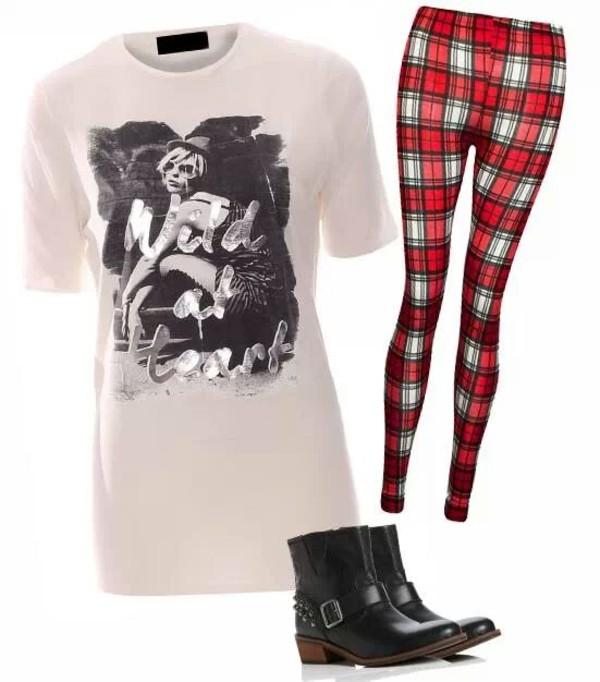 t-shirt t-shirt motif leggings tartan check pants