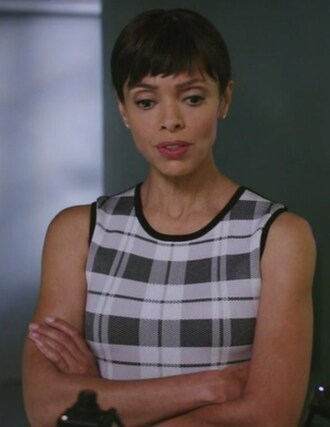 dress bones tv show tamara taylor dr. camille saroyan check bandage dress