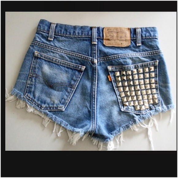 denim jeans shorts denim shorts levis shorts vintage High waisted shorts studs