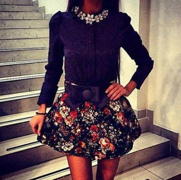 skirt flowered skirt shirt
