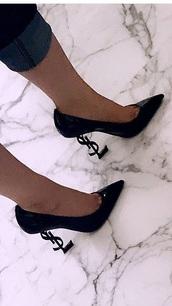 shoes,ysl heels,black
