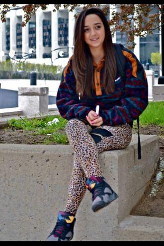 sweater bordeaux jordan's jordans burgundy colorful sweater aztec shoes leggings