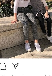 pants,black and white plaid cigarette pants