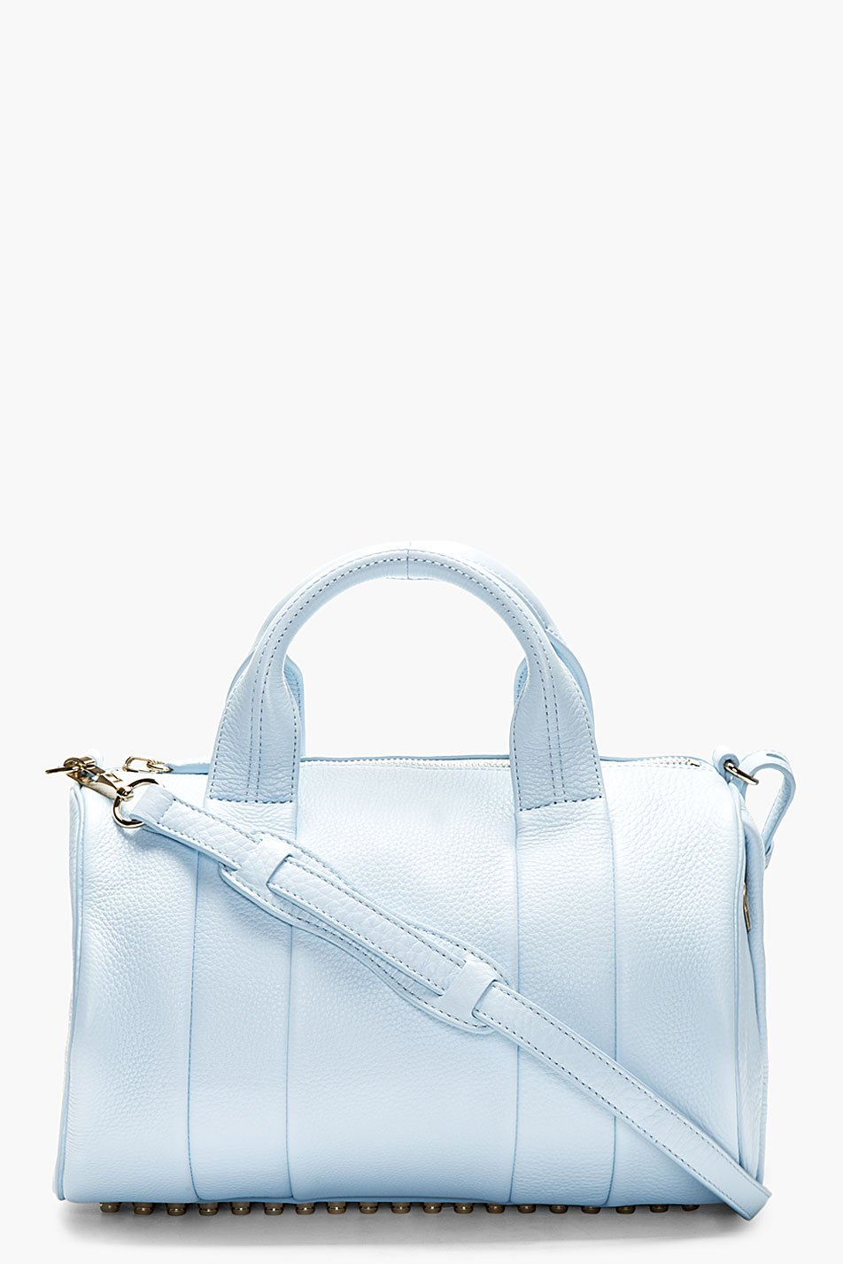 Alexander wang baby blue leather rocco studded duffle bag