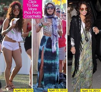 skirt maxi skirt coachella music festival summer beach blue tie dye vanessa hudgens blue skirt