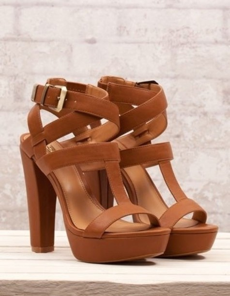 Brown Chunky Heel Shoes | Tsaa Heel