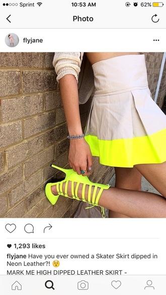 skirt nude neon citron yellow pleated skirt leather skirt high waist skirt