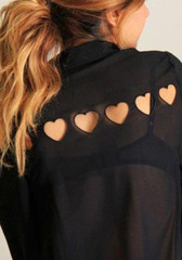 Chiffon heart cut out top