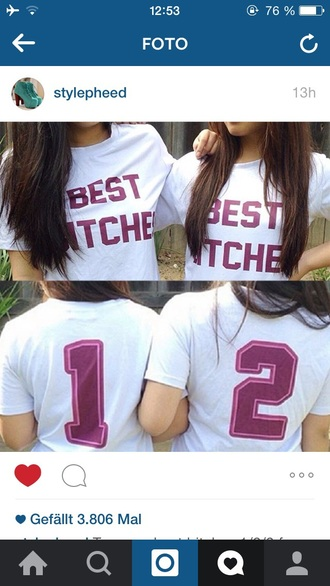 shirt best bitches white+pink number best bitches shirt white+black