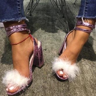 shoes white fur fur pink heels sandals sandal heels chunky heels white pink heels