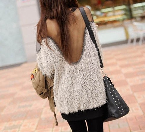 Sexy Sweaters Gauze Backless Shirt Long Sleeve Sweater Top Shirts  Women Sexy Raglan Transparent MESH Fur Sweater -in Pullovers from Apparel & Accessories on Aliexpress.com