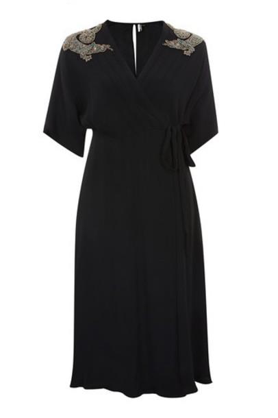 Topshop dress wrap dress embellished black