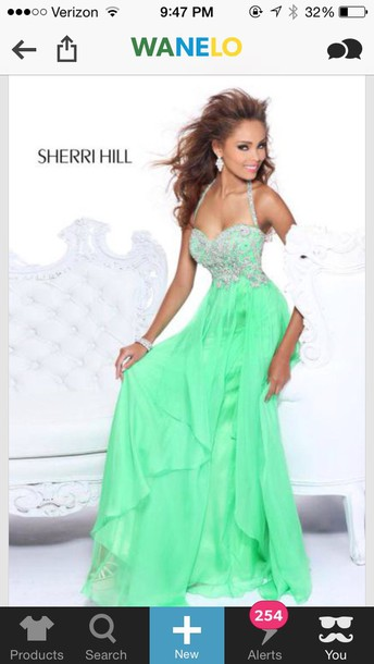 dress green dress sherri hill