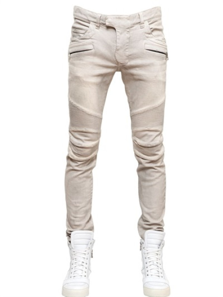 831b7ecc671b Balmain Stretch Skinny Denim Jeans in Beige for Men | Lyst