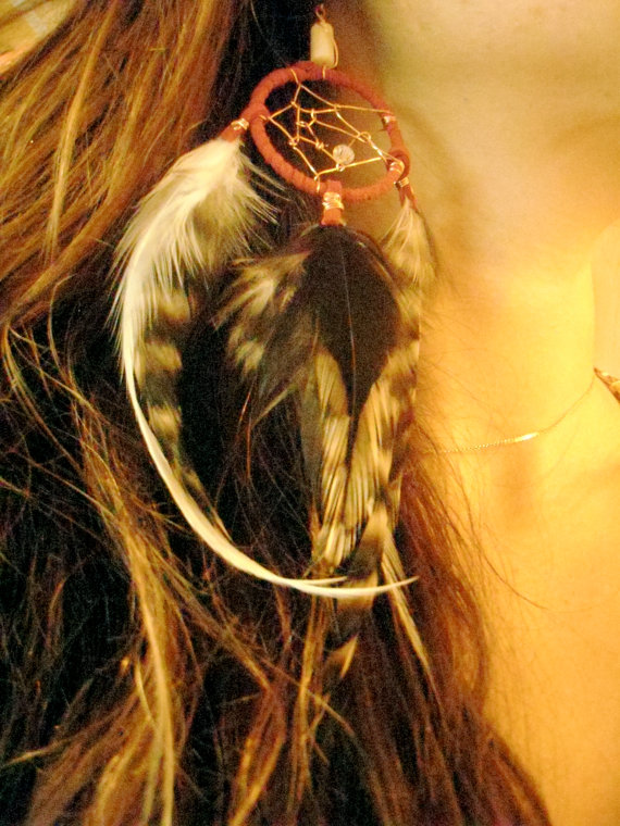 Red Leather and Feathers by mauiwings on Etsy