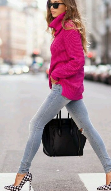 Sweater: pullover, fall sweater, winter sweater, girl, cerise ...