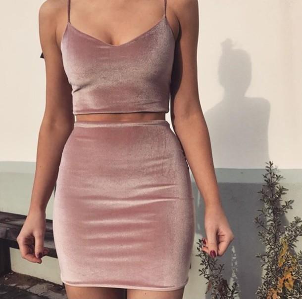 e8ac2d65a5d0 dress velvet velvet dress outfit top and bottom skirt cute halp halpme silk  pink pink dress