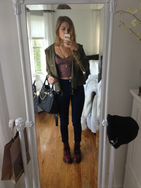 jeans jacket tank top jewels cami grunge army green jacket top green army jacket maroon combat boots black and gold pleated purse grey bralett tank top.  crop top bag necklace shoes shirt bralette fashion