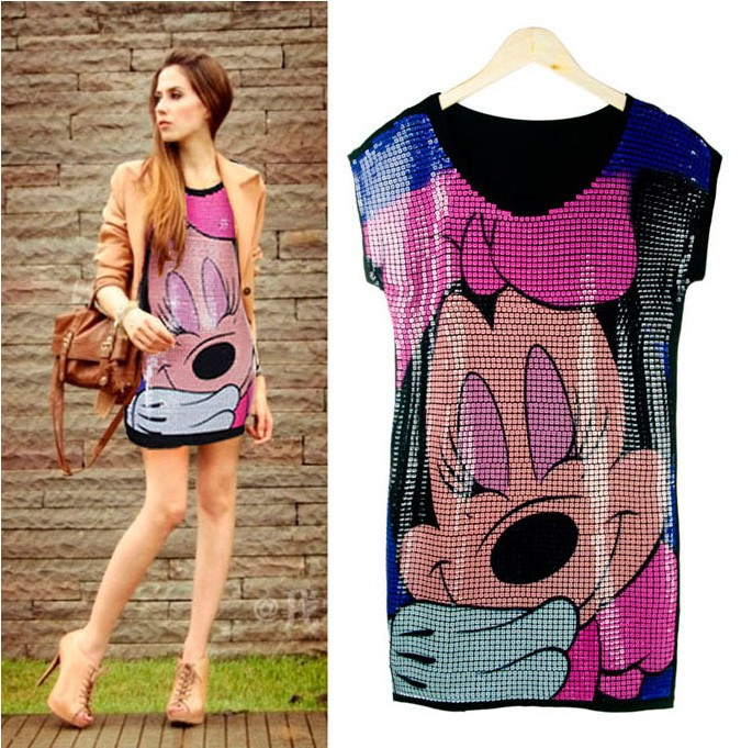 Moda verão loose fit roupa rato mickey minnie lantejoula sequin feminina t  camisa vestido frete grátis 25