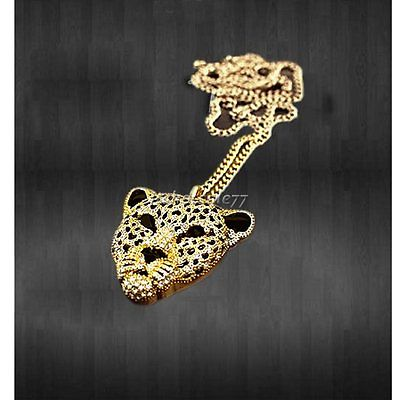 Rhinestone Leopard Tiger Head Sweater Chain Necklace | eBay