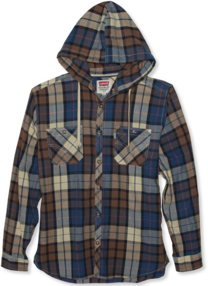 levi's top flannel plaid hoodie plaid top button up button front menswear